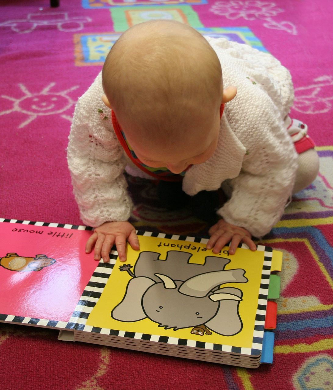 A baby looking at a picture book